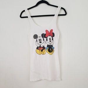 Disney | mickey and minnie white tank.